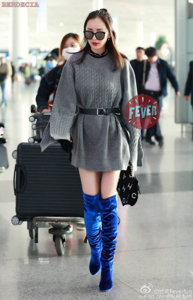 belted sweater dress blue velvet over the knee boots