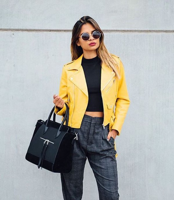 best yellow leather jacket outfit ideas