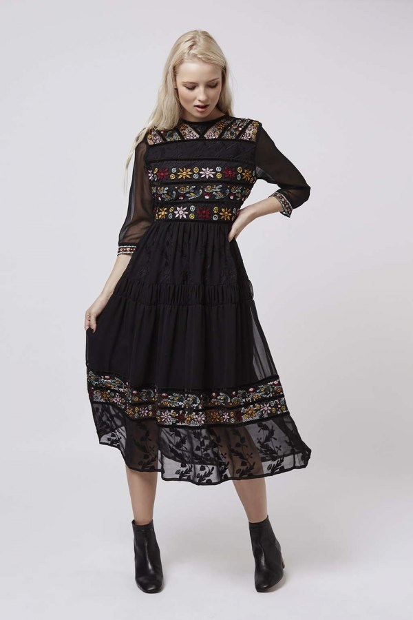 best black embroidered dress outfits