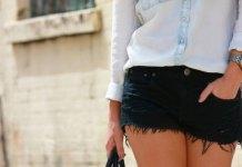 best black denim shorts outfit ideas