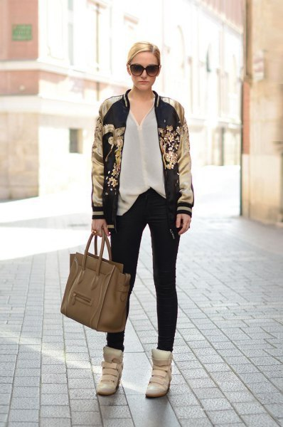 black and gold printed bomber jacket white chiffon shirt