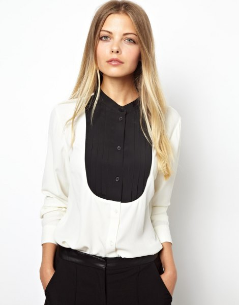black and white color block shirt