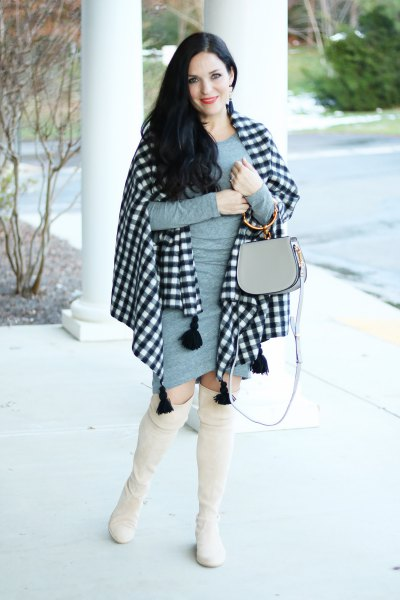 black and white plaid shawl grey bodycon mini dress