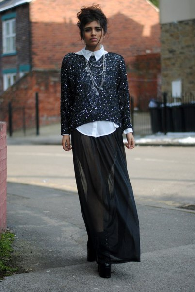 black and white sequin sweater black sheer maxi skirt