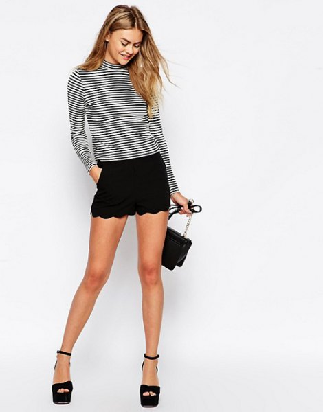 black and white striped mock neck long sleeve tee