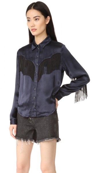black button up silk fringe shirt shorts