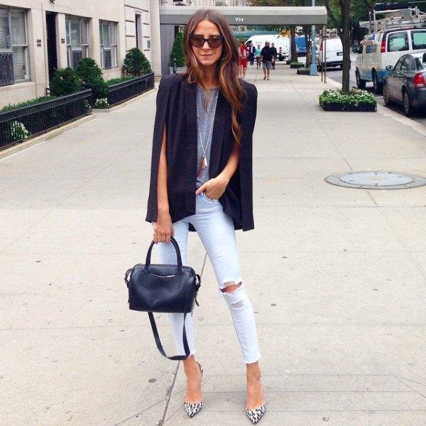 black cape blazer grey tee white ripped skinny jeans
