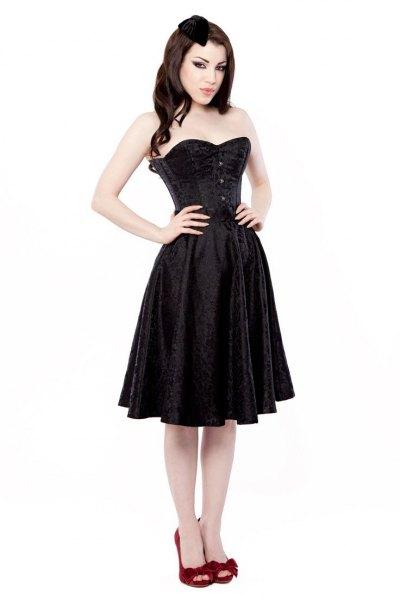 black corset knee length flared dress