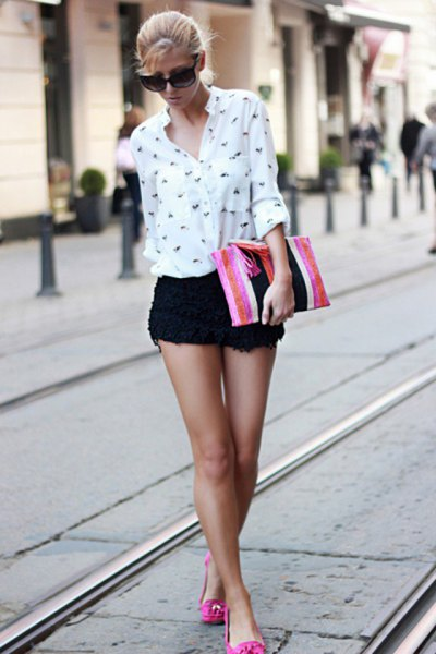 black crochet mini shorts white printed button up shirt