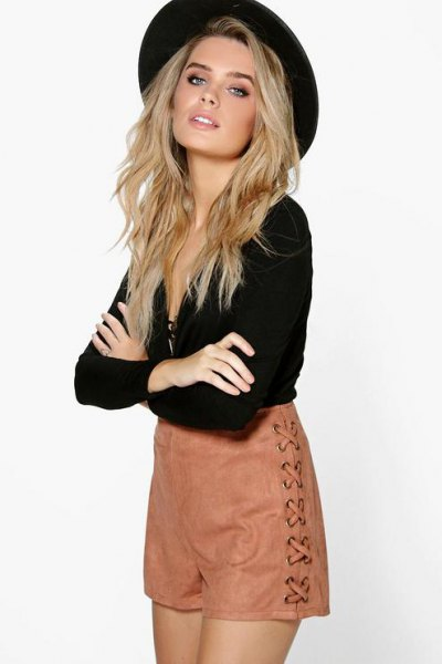 black deep v neck blouse felt hat