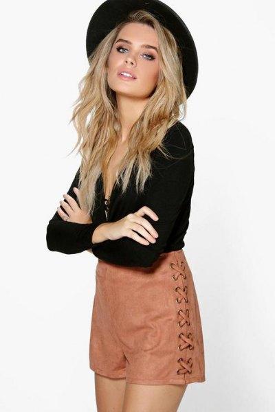black deep v neck blouse felt hat