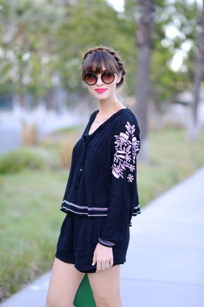 black embroidered blouse mini shorts