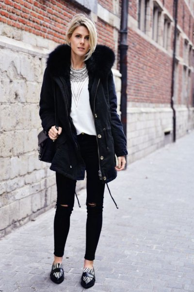 black faux fur collar parka jacket white tribal printed top