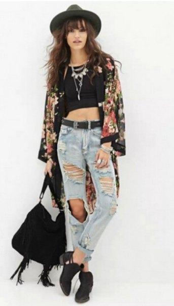 black floral chiffon cardigan crop top ripped boyfriend jeans