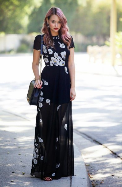 black floral tee matching sheer maxi dress