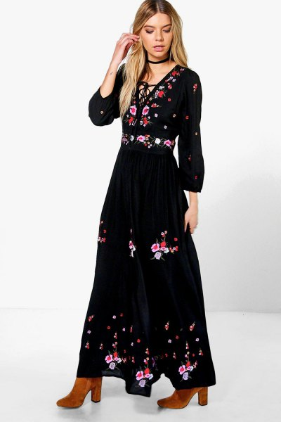 black gathered waist deep v neck maxi dress