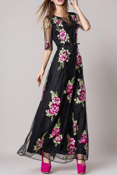 black gathered waist maxi floral dress