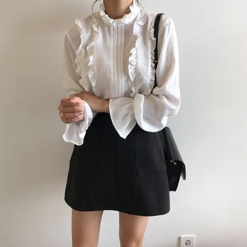 black high waisted wool skater mini skirt