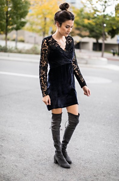 black lace mini dress grey velvet over the knee boots