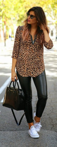 ca151d22118ab0 black leather leggings white sneakers source. Here is a very interesting  attempt to wear the leopard print blouse ...