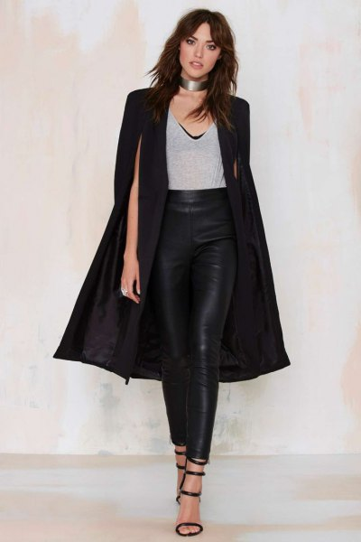 black long cape coat leather leggings silver choker