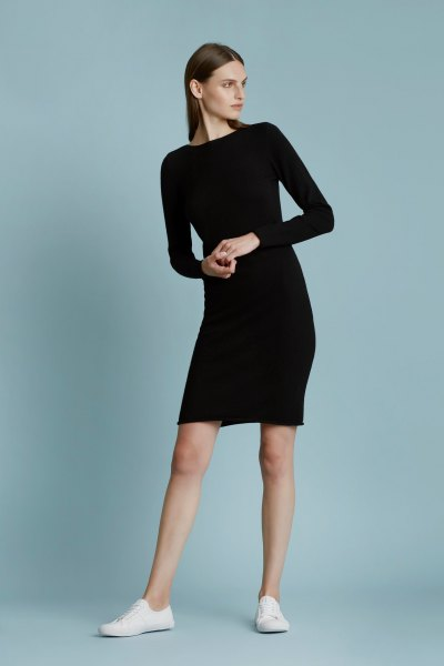 black long sleeve cashmere dress white sneakers