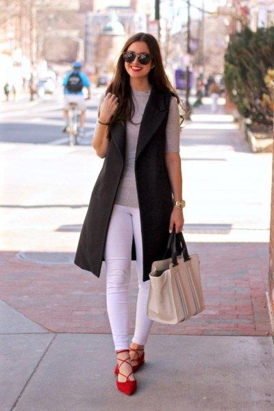 black long vest grey half sleeve t shirt