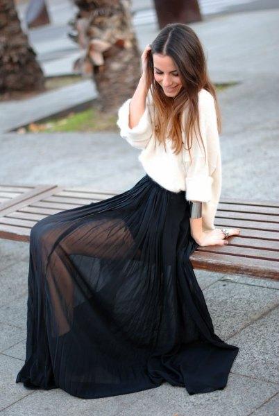 black maxi chiffon sheer skirt white loose fit linen blouse