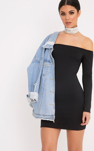 black off the shoulder bodycon mini ribbed dress