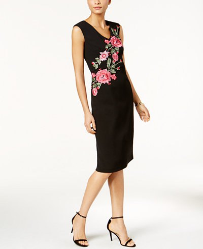 black rose embroidered sleeveless sheath midi dress