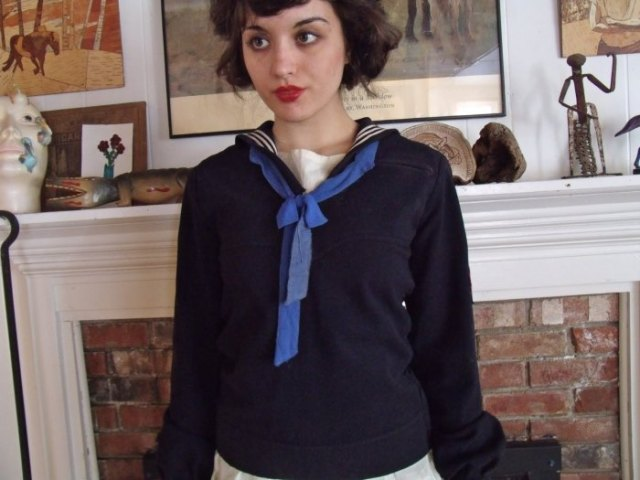 black sailor shirt blue ribbon bow