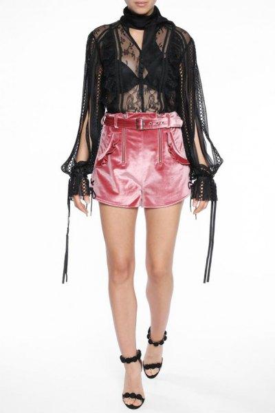 black semi sheer chiffon blouse