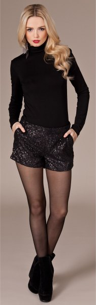 black sequin shorts turtleneck form fitting knit sweater