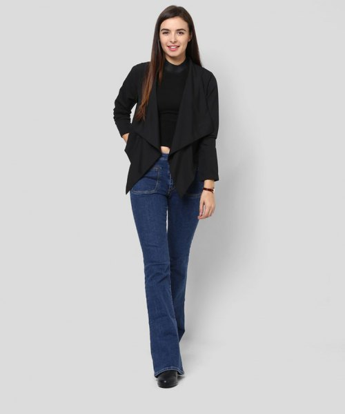 black shrug flared jeans boots