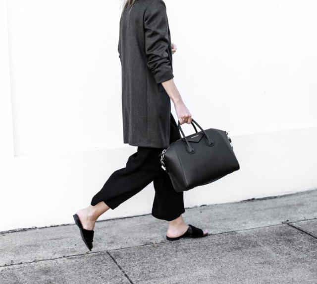black slide sandals with white tweed long blazer