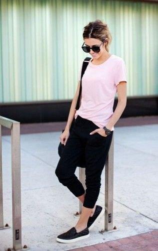 black slip on shoes white tee jogger pants