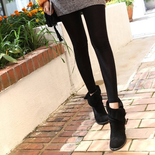 black suede fold over ankle boots grey dress black leggings