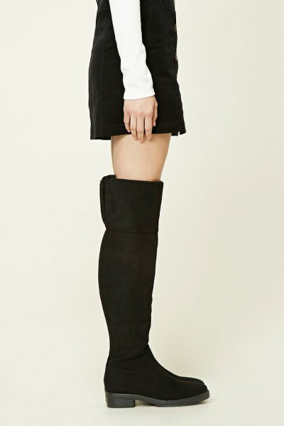 black suede over the knee fold over boots with shift dress