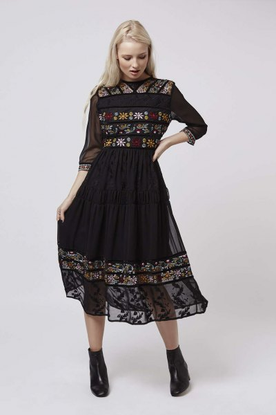 black three quarter sleeve chiffon embroidered flared midi dress