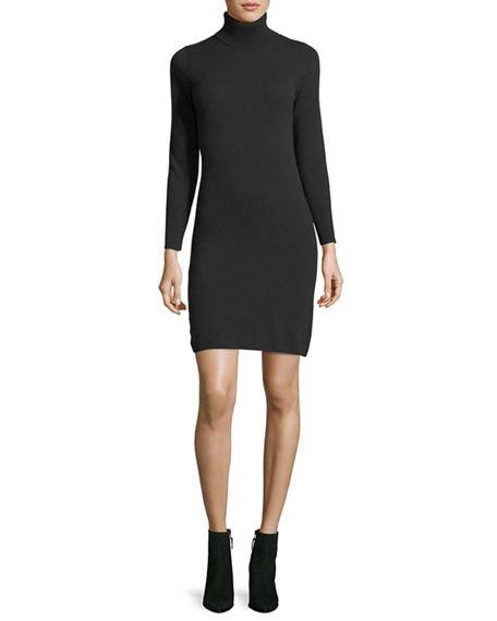 black turtleneck cashmere mini dress leather ankle boots