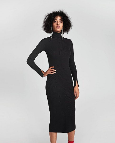 black turtleneck midi ribbed dress