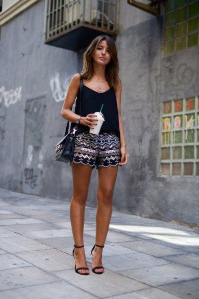 black vest top tribal printed cute mini shorts