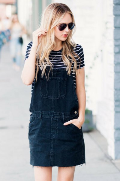 black washed denim overall dress striped tee