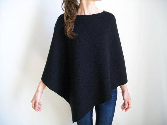 black wool poncho blue skinny jeans