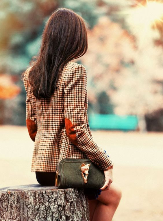 blazer with elbow patches statement bag