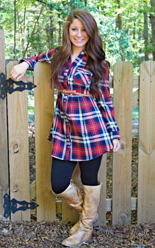 blue and red plaid tunic ivory knee high leather boots