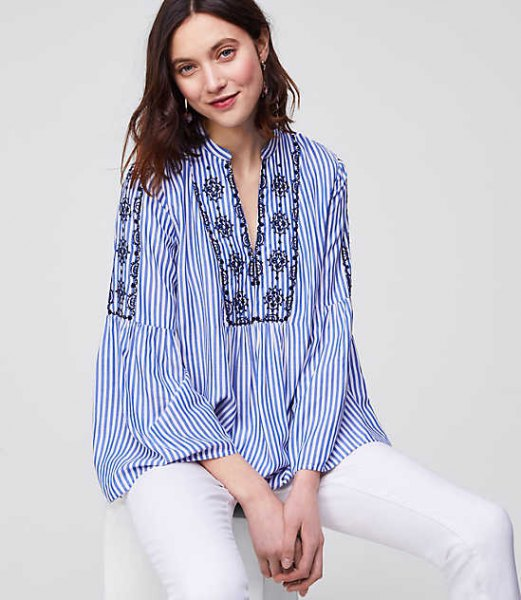 blue and white pinstripe boho style shirt