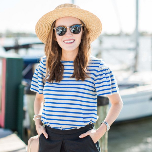 blue and white striped t shirt straw hat