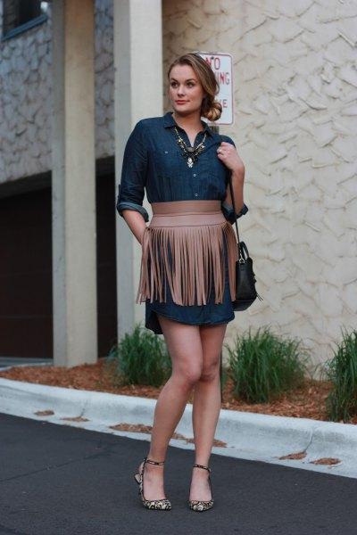 blue chambray shirt dress crepe fringe belt