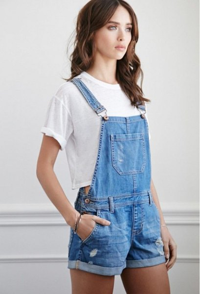blue denim overall shorts white cropped t shirt
